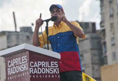 Il leader dell'opposizione venezuelana, Capriles (foto InfoPhoto)