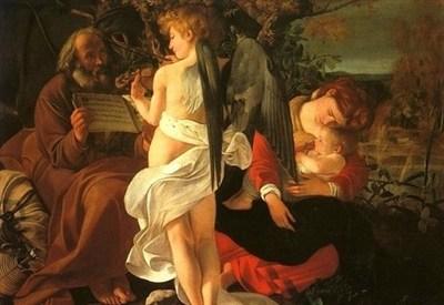 Caravaggio, Fuga in Egitto (1595-96) particolare (Immagine d'archivio)