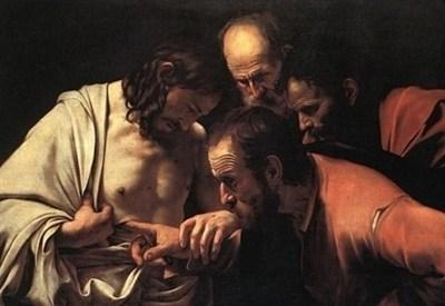 Caravaggio, Incredulità di San Tommaso (1600-1, particolare) (Immagine d'archivio)