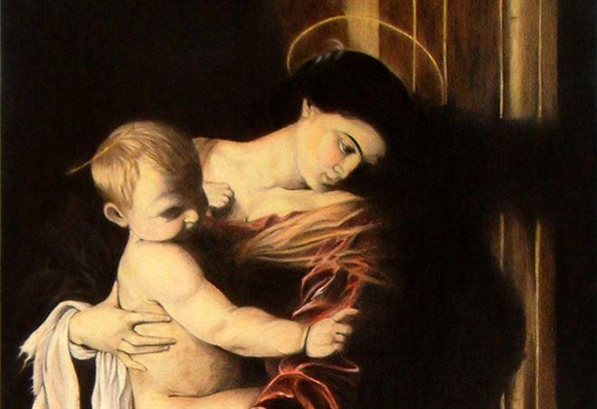 Caravaggio, Madonna dei Pellegrini, particolare (1604)