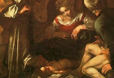 Caravaggio, Natività con i Santi Lorenzo e Francesco d'Assisi (1609) (Immagine d'archivio)