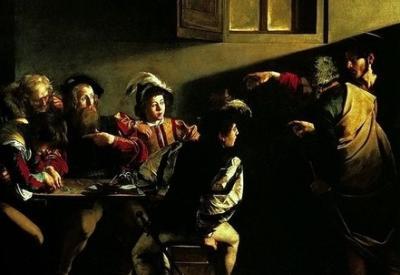 Caravaggio, Vocazione di Matteo (1599-1600, particolare; immagine d'archivio)