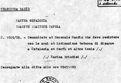 L'ordine impartito al gen. Gandin l'11/9/1943 (Arch. M. Filippini)