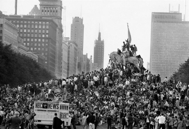 Manifestazione a Chicago, 1968, durante la convention del Partito democratico
