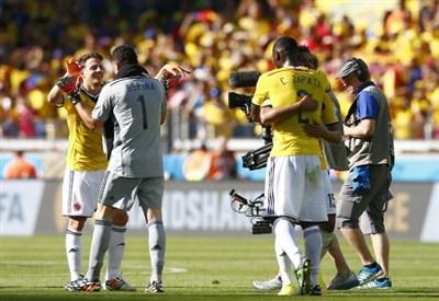 La Colombia festeggia la prima vittoria ai Mondiali 2014 (Infophoto)