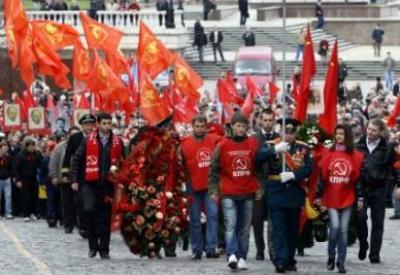 Mosca, manifestazione di nostalgici del comunismo (Infophoto)