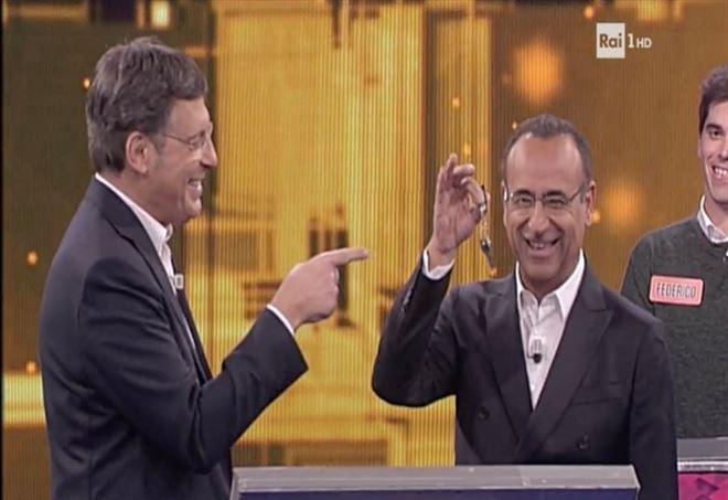 Fabrizio Frizzi e Carlo Conti all'Eredità