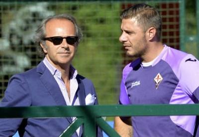 Il presidente della Fiorentina Andrea Della Valle, 49 anni e il centrocampista spagnolo Joaquin, 33 (INFOPHOTO)