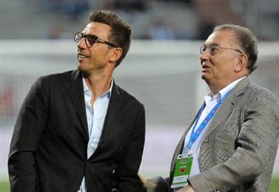 Eusebio Di Francesco (sinistra), 45 anni e il presidente del Sassuolo Giorgio Squinzi, 72 (INFOPHOTO)