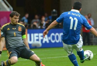 Antonio Di Natale segna contro la Spagna (Infophoto)