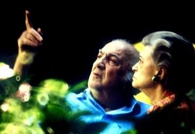 Federico Fellini (1920-1993) con Giulietta Masina (Infophoto)