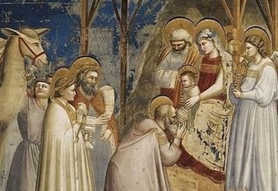 Giotto, Adorazione dei Magi (1303-05, particolare) (Immagine d'archivio)