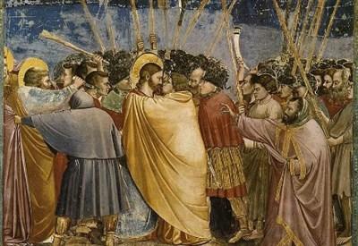 Il bacio di Giuda nell'affresco di Giotto (1303-1305) (Immagine d'archivio)