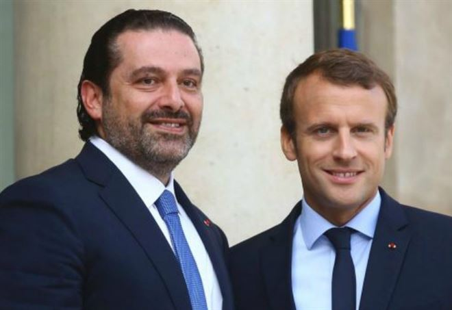 Il primo ministro libanese Hariri e il presidente francese Macron (Foto dal web)