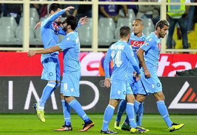 Esultanza dei giocatori del Napoli (Infophoto)
