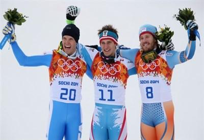 Matthias Mayer sul podio olimpico (Infophoto)