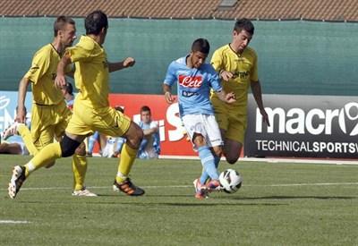 Lorenzo Insigne, 21, segna il secondo dei suoi tre gol alla Rappresentativa Trentina (INFOPHOTO)