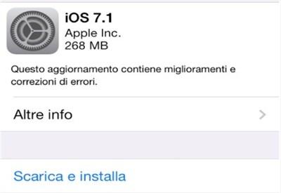 Aggiornamento iOS 7.1