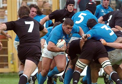 Gli All Blacks contro l'Italia (Infophoto)