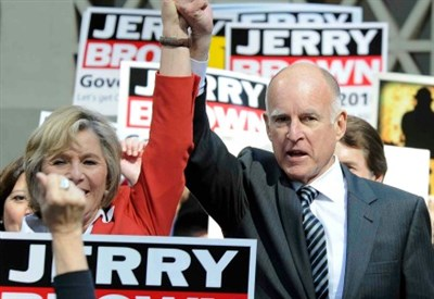 Jerry Brown in campagna elettorale (Infophoto)