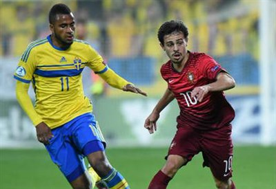 Lo svedese Isaac Kiese Thelin (sinistra), 22 anni e il portoghese Bernardo Silva, 20 (dall'account Twitter ufficiale @UEFAUnder21)