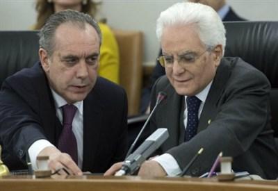 Giovanni Legnini con Sergio Mattarella al Csm (LaPresse)