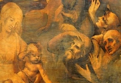 Leonardo da Vinci, Adorazione dei Magi, particolare (1482) (Immagine d'archivio)