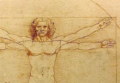 Leonardo da Vinci, Uomo vitruviano (Immagine d'archivio)