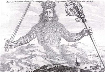 Particolare della celebre copertina del Leviathan, scritto da Thomas Hobbes nel 1651 (Immagine d'archivio)