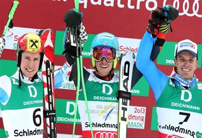 Il podio di Schladming 2013: vinse Ligety su Hirscher e Moelgg (Infophoto)