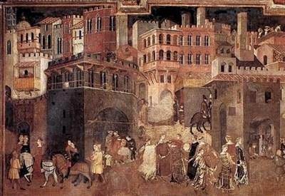 Ambrogio Lorenzetti, Allegoria degli effetti del buon governo (1338-39) (Immagine d'archivio)
