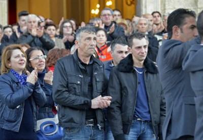 Davide Stival ai funerali del figlio Loris