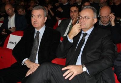 Alfredo Mantovano con Mario Mauro (Foto: InfoPhoto)