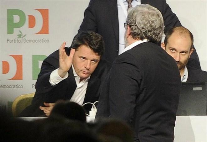Direzione Nazionale Pd: Renzi, Orfini ed Emiliano (LaPresse)