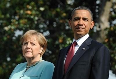 Obama e Merkel (Infophoto)