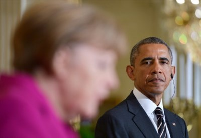 Angela Merkel e Barack Obama alla Casa Bianca (Infophoto)