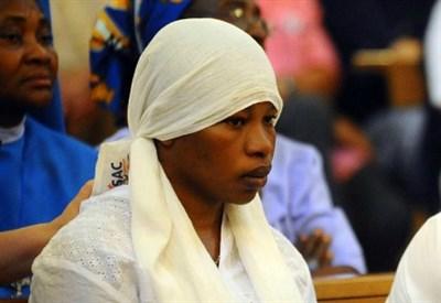 Chinyery, la vedova di Emmanuel Chidi Namdi, ieri al funerale (La Presse)
