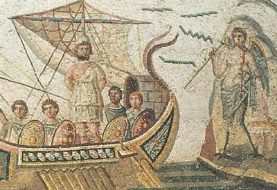 Mosaico di Ulisse conservato nel museo del Bardo a Tunisi (Immagine dal web)