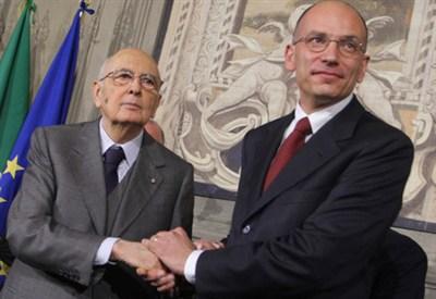 Giorgio Napolitano con Enrico Letta (InfoPhoto)