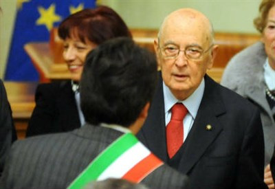 Matteo Renzi con Giorgio Napolitano (Infophoto)