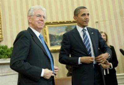 Mario Monti e Barack Obama (Infophoto)