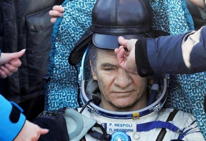 Paolo Nespoli all'arrivo in Kazakhstan (LaPresse)