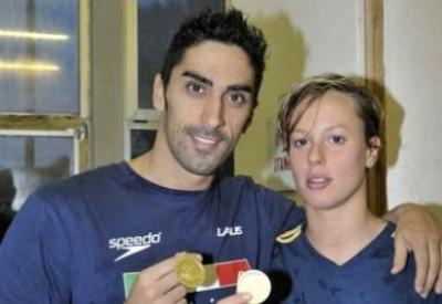 Filippo Magnini e Federica Pellegrini, oggi protagonisti a Riccione (Infophoto)