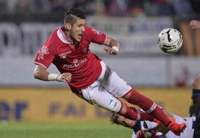 Diego Falcinelli, 23 anni, attaccante del Perugia (dall'account Twitter ufficiale @ACPerugiaCalcio)