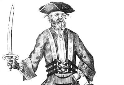 Il pirata Barbanera in una litografia del diciottesimo secolo