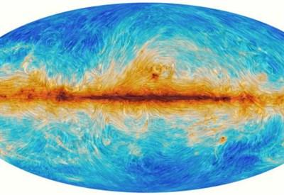La mappa del fondo cosmico di microonde e della sua polarizzazione misurata da Planck. I colori rappresentano l'intensità della radiazione, le linee individuano la direzione di polarizzazione (Credit ESA/Planck)