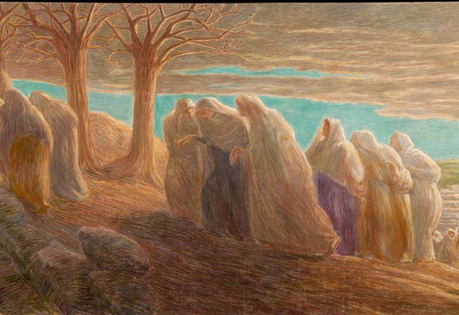 Gaetano Previati, La via al Calvario, particolare (1913)