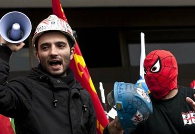La protesta dei minatori Carbosulcis (InfoPhoto)