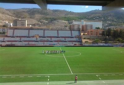 Lo stadio Polisportivo Provinciale di Erice (dall'account Twitter ufficiale @TrapaniCalcio)