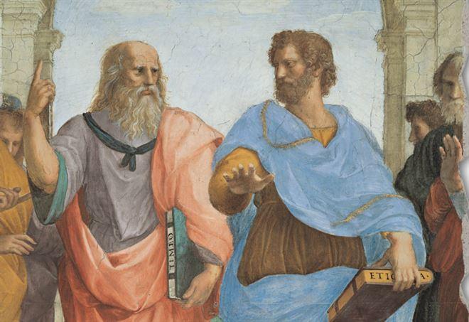 Raffaello, Scuola di Atene, particolare: Platone e Aristotele (1509)